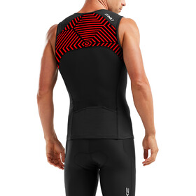 2XU Active Tri Singlet Men black/flame scarlet print